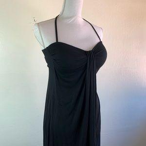 Skye Dresses - SKYE Cover Up Black Halter Self Tie Dress